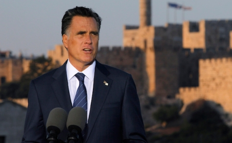 U.S. Republican Presidential candidate Mitt Romney is pictured in front of the Old City of Jerusalem as he delivers foreign policy remarks at Mishkenot Sha'ananim