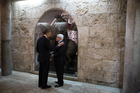 President Barack Obama and President Mahmoud Abbas of the Palestinian Authority talk following their tour of the Church of the Nativity in Bethlehem, the West Bank, March 22, 2013. (Official White House Photo by Pete Souza)